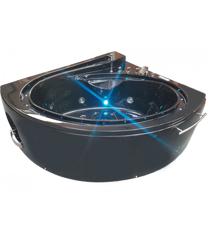 baignoire balneo d angle 165x148 pur acrylique noir