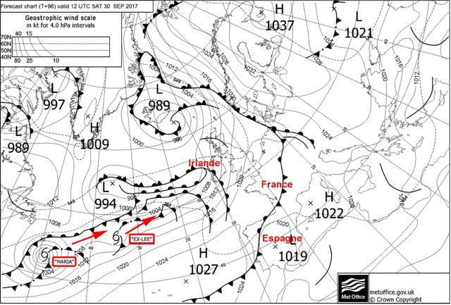 Les prévisions européennes concernant Lee et Maria pour ce samedi 30 septembre.