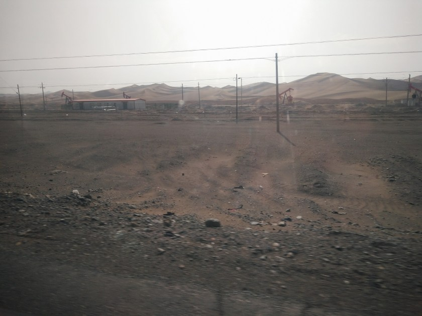 View from a train window: the Taklamakan desert