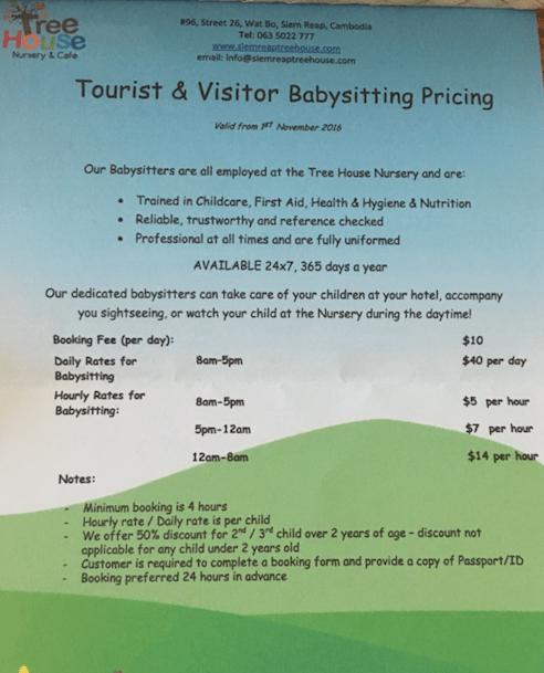 babysitting options in Siem Reap