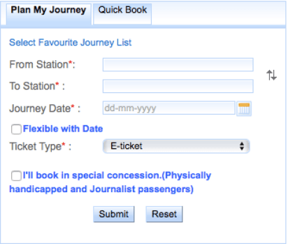Booking indian rail tickets
