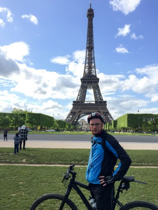 Brian makes it to the Eiffel Tower and is chuffed to bits.