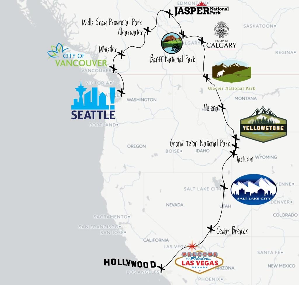 Itinéraire 2 - Road trip entre Ouest Canadien et Américain dans les Rocheuses