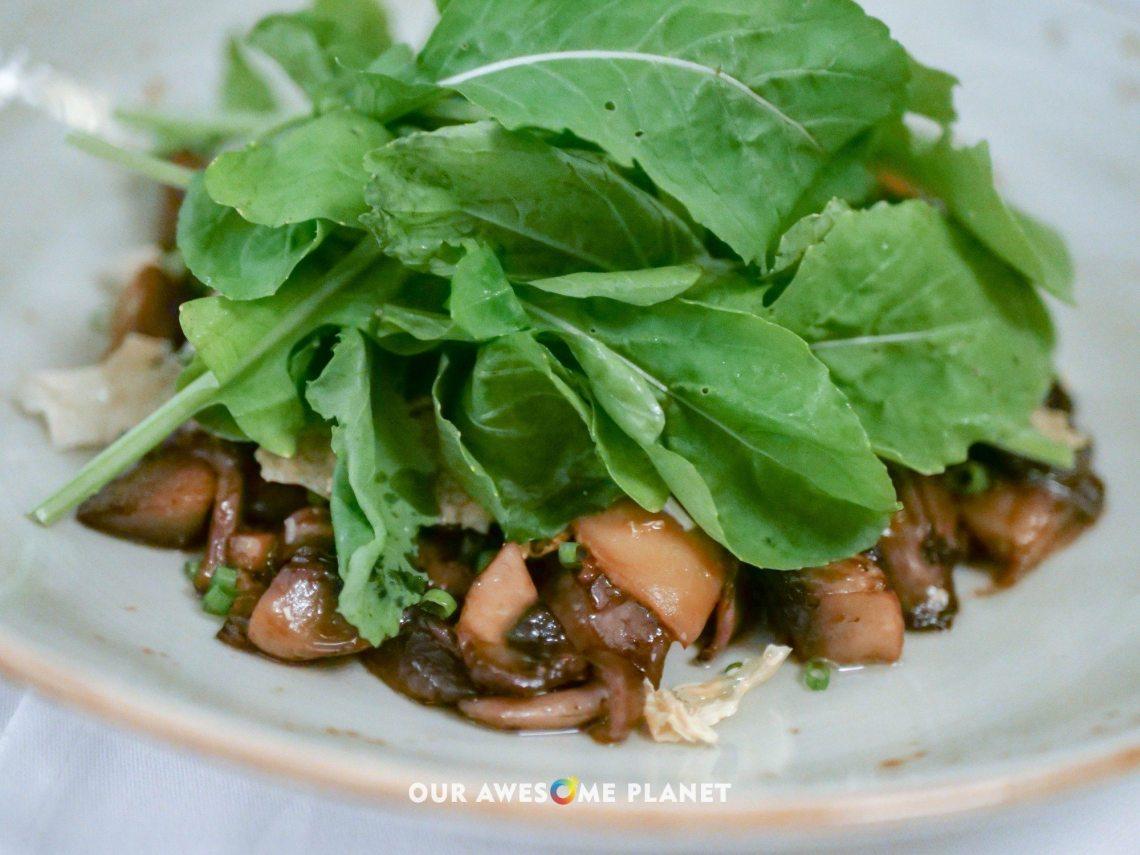 Asian Mushroom Salad (₱420). Shiitake, oyster, button and shimeji mushrooms, ginger, soy-sesame vinaigrette, crispy tofu skin