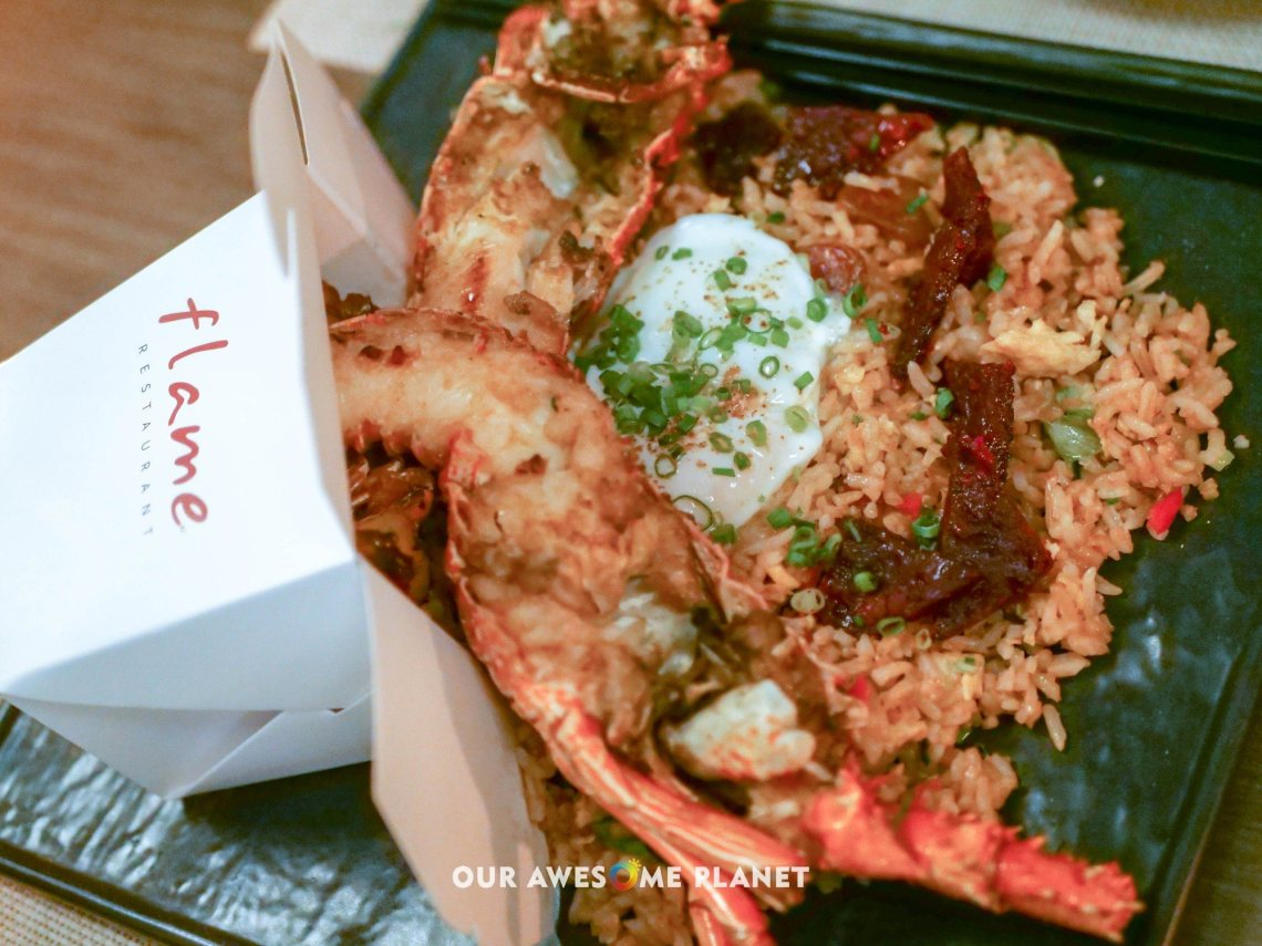 Take-out Lobster Fried Rice (₱920). Free-range egg, chorizo Macau, char siu pork, Bakkwa, spiny rock lobster