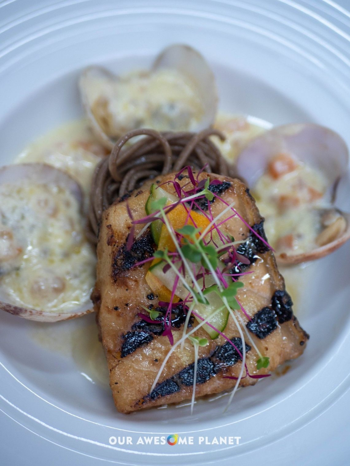 Grilled Miso Marinated Sea Bass on Soba Noodle Salad, Clams, Cream Sauce and Tapioca Pearl