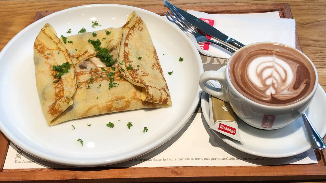 Chicken and Mushroom Crepe annd Hot Chocolate