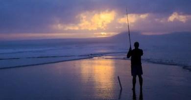 Fishing in sunset