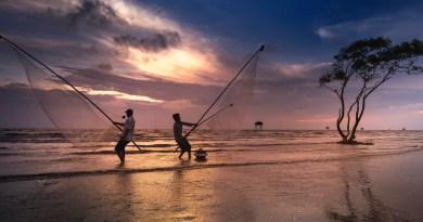 Fishing in Beach at dawn