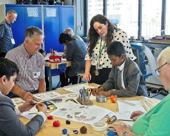 Art & Design Technology Teacher, Anna, with Geezers, Tony (left) and Charlie (right).