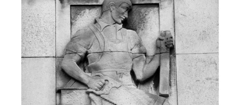 Reliefs around Poplar Town Hall by David Evans