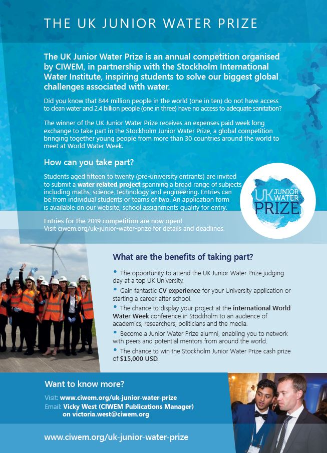 UK Junior Water Prize competition flyer