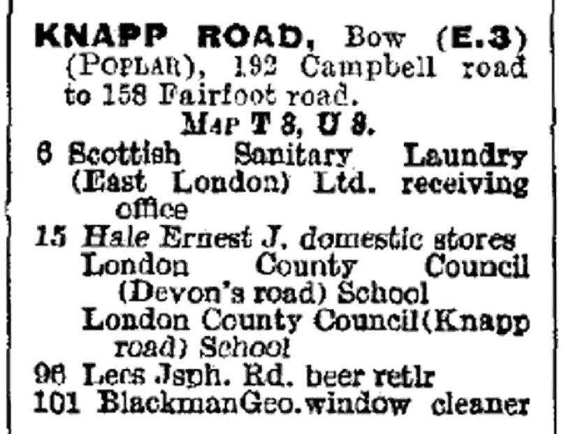 Knapp Road 1939 from London PO directory