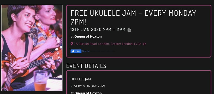 Queen of Hoxton Ukulele Jam nights on Mondays