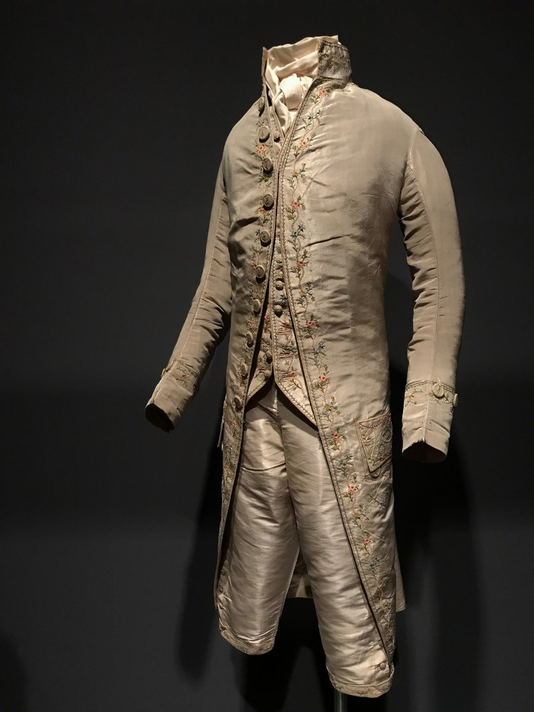 As new - man's three-piece silk suit from 1780s collected by Olive Matthews