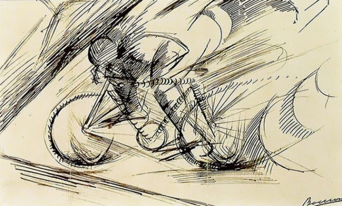 A Cyclist's Dynamism, Umberto Boccioni, 1913. Courtesy Estorick Collection of Modern Italian Art, London