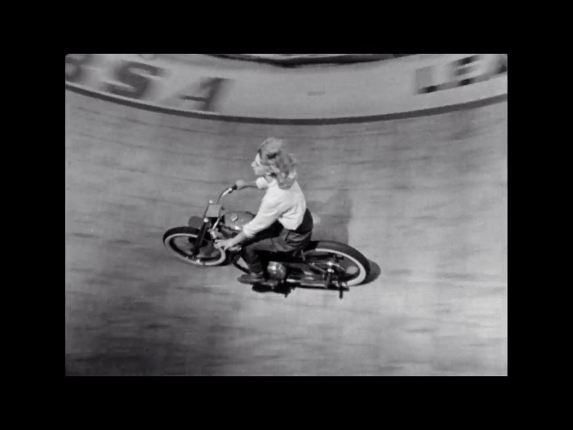 Cindy Willis riding the Wall of Death
