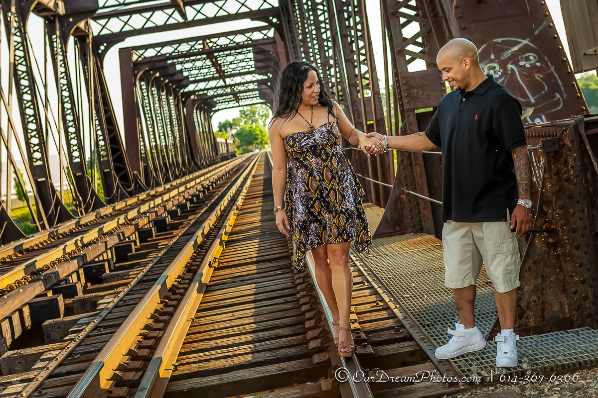 Engagement session with Priscilla Hernandez and John Woodrick photographed Friday June 14, 2013 at North Bank Park. (© James D. DeCamp | http://OurDreamPhotos.com | 614-367-6366)
