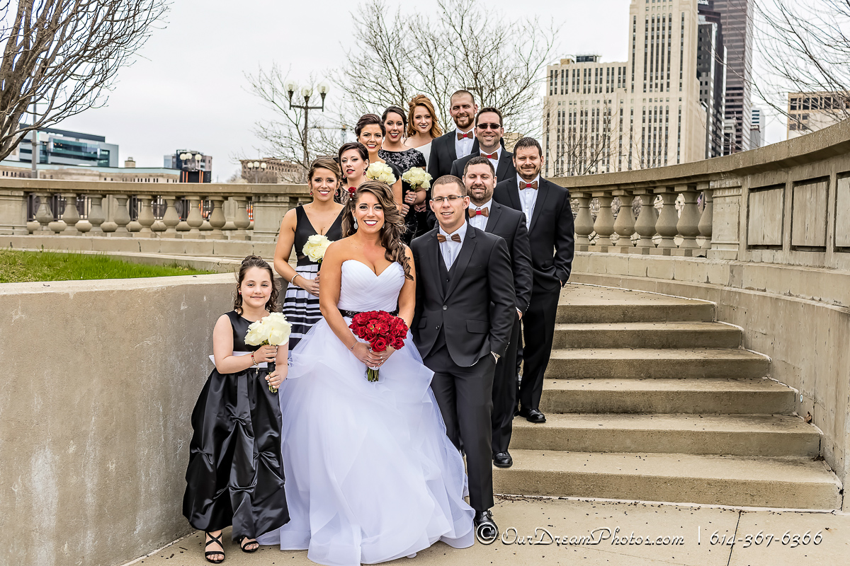 The wedding and reception of Malia Burkhart and Mark Hatem photographed Saturday, April 1, 2017 at the Vault in downtown Columbus, Ohio. (© James D. DeCamp | http://OurDreamPhotos.com | 614-367-6366)