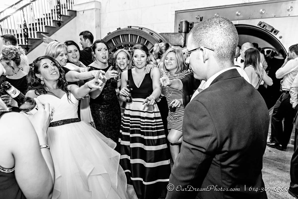 The wedding and reception of Malia Burkhart and Mark Hatem photographed Saturday, April 1, 2017 at the Vault in downtown Columbus, Ohio. (© James D. DeCamp   http://OurDreamPhotos.com   614-367-6366)