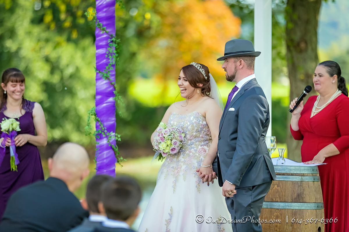 Wedding and reception of Victoria Horosz and Andrew Skaggs photographed Friday, September 15, 2017 at Raven's Glenn Winery. (© Shari Lewis | http://OurDreamPhotos.com | 614-367-6366)