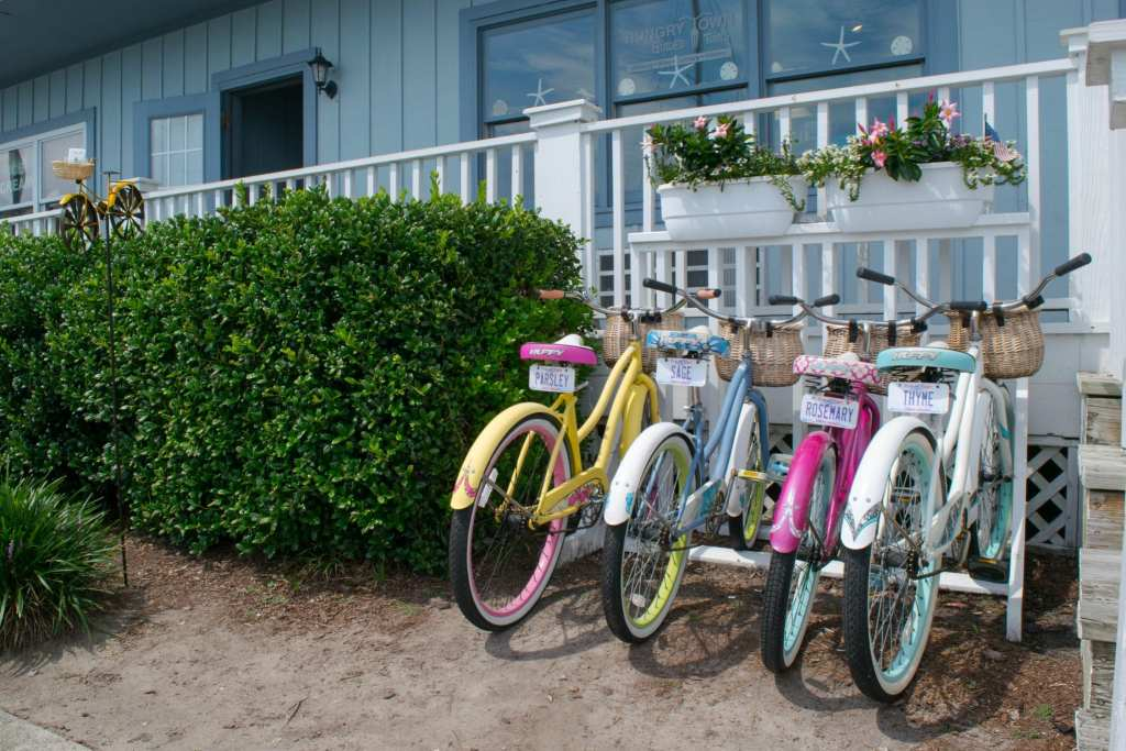 Things to Do in Beaufort NC: colorful bikes parked near Front Street