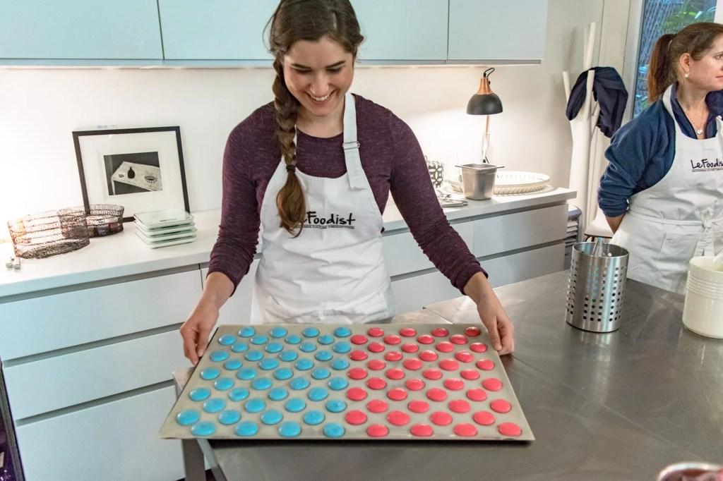 Girl baking macarons