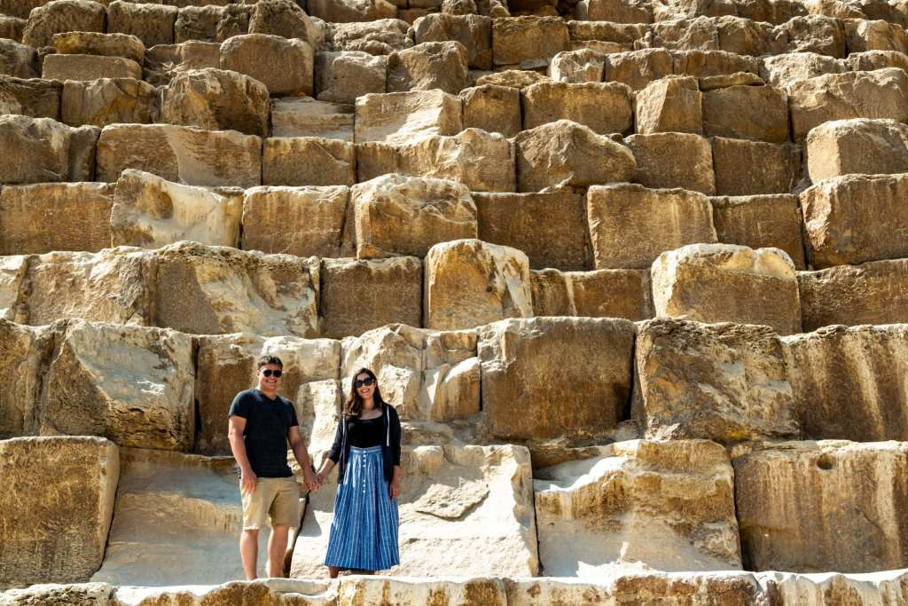 Layover in Cairo: Couple on Pyramid