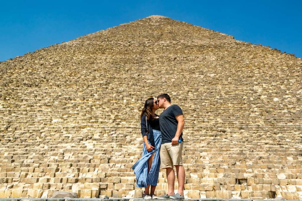 Layover in Cairo: Couple with Great Pyramid