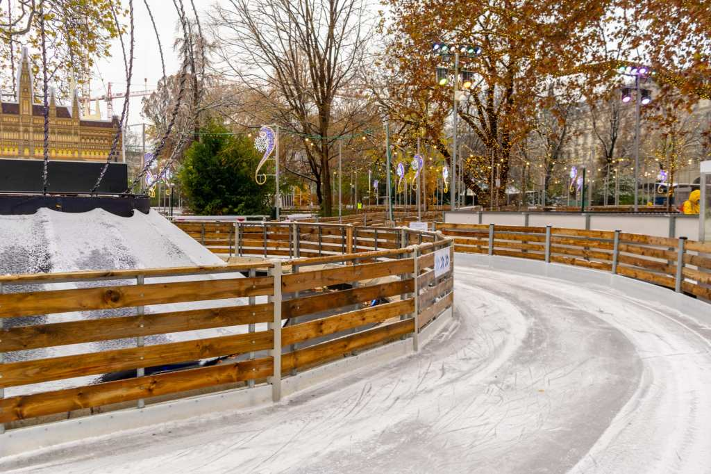 Ice skating rink in Vienna Austria: consider what kind of activities you want to include when packing for winter in Europe!