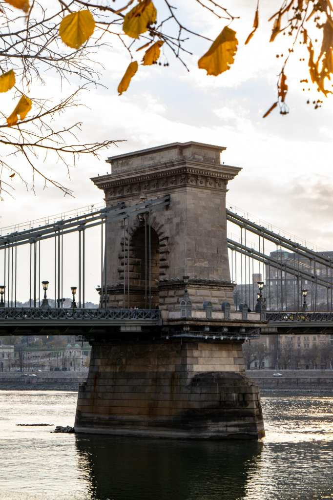Photo of the Chain Bridge with yellow leaves from fall in the frame above it. Essential sight to see even with only one day in Budapest!