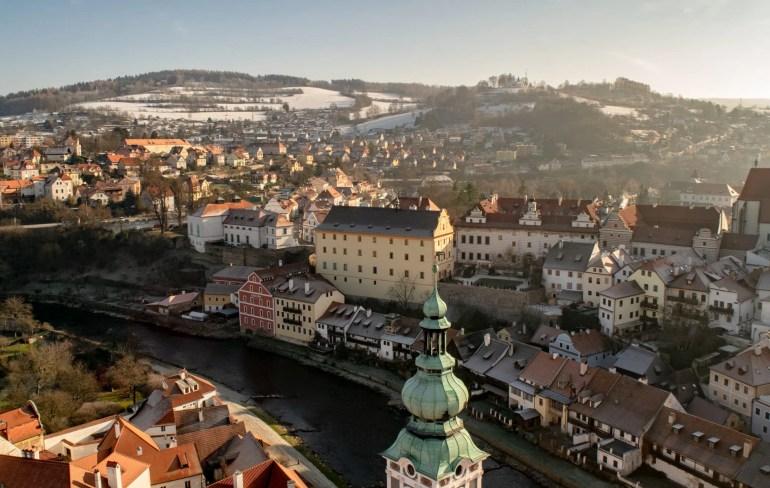 Vienna to Cesky Krumlov by Train: View of Cesky Krumlov from Castle Tower