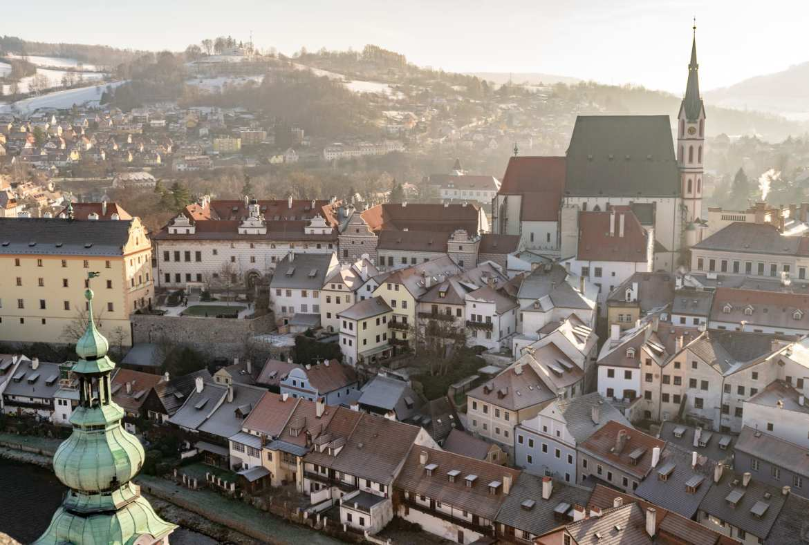 Cesky Krumlov in Winter: View from Castle Tower