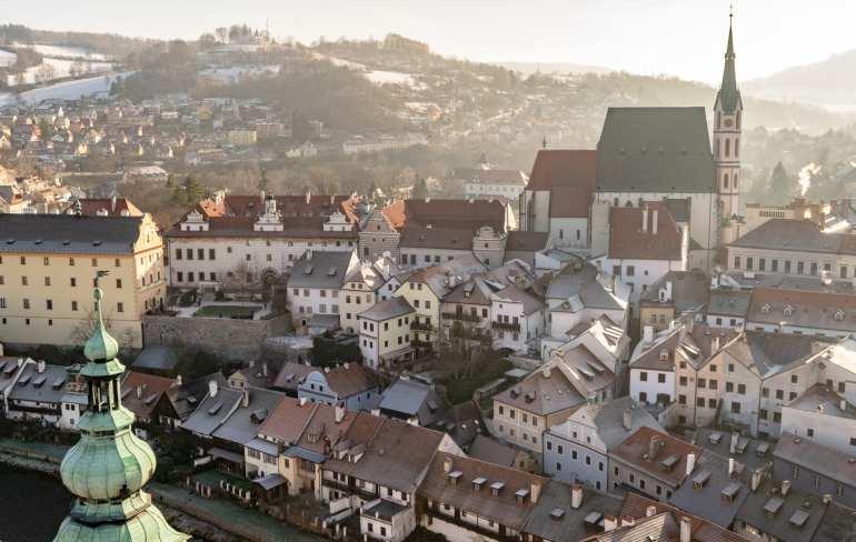 Cesky Krumlov in Winter: View from Castle Tower