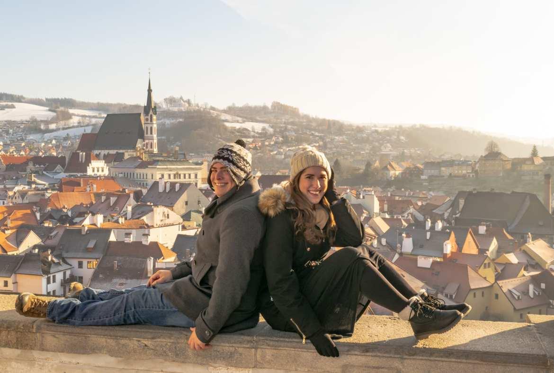 Český Krumlov in Winter: Couple in Cesky Krumlov