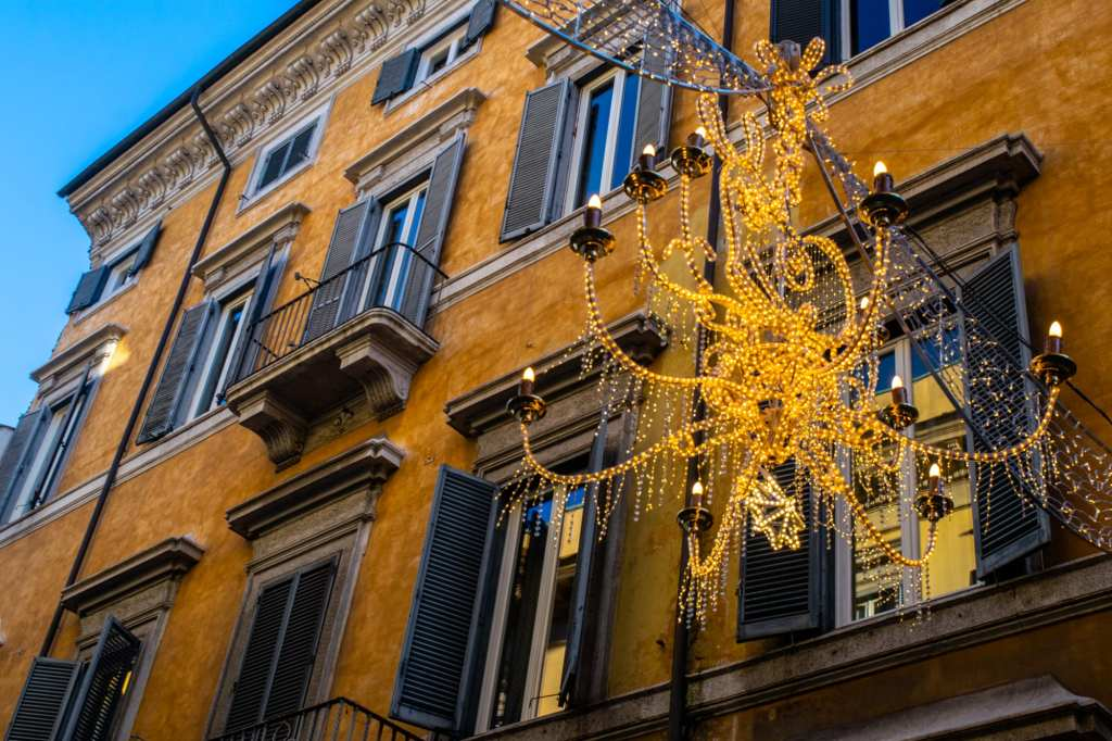Christmas Lights near Spanish Steps, Winter in Rome