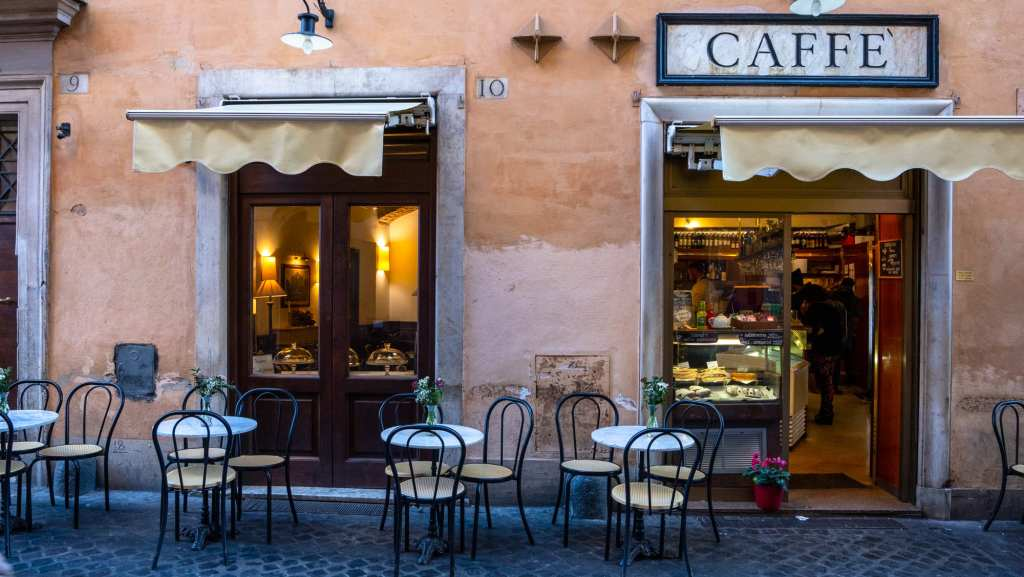 Cafe with Chairs outside in February, Rome in Winter