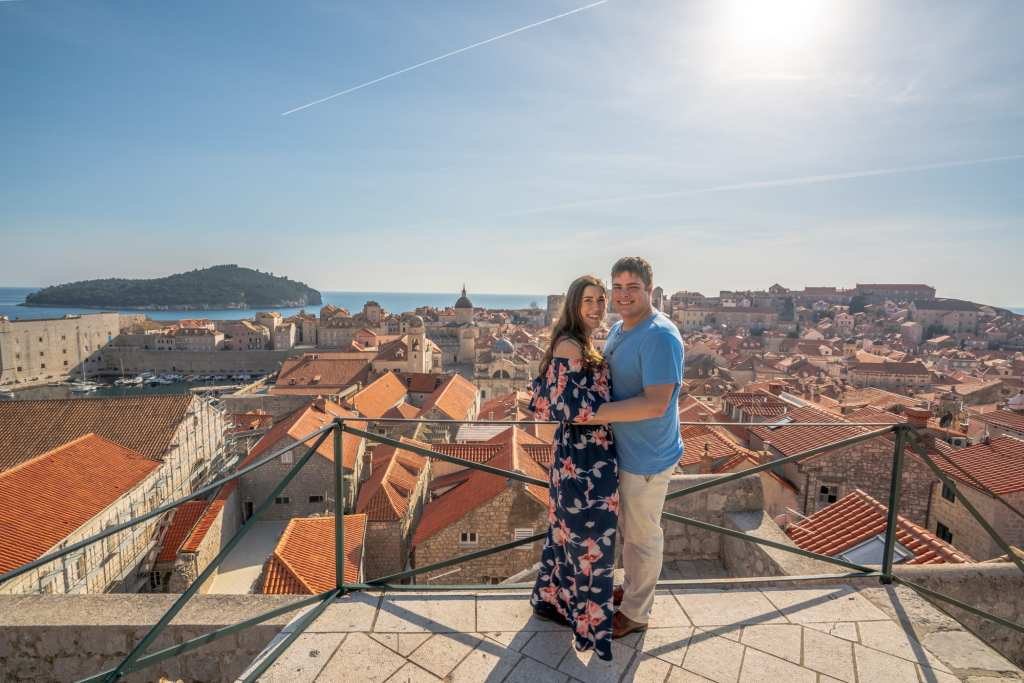 Fun Things to Do in Dubrovnik: Kate Storm and Jeremy Storm on Dubrovnik city walls