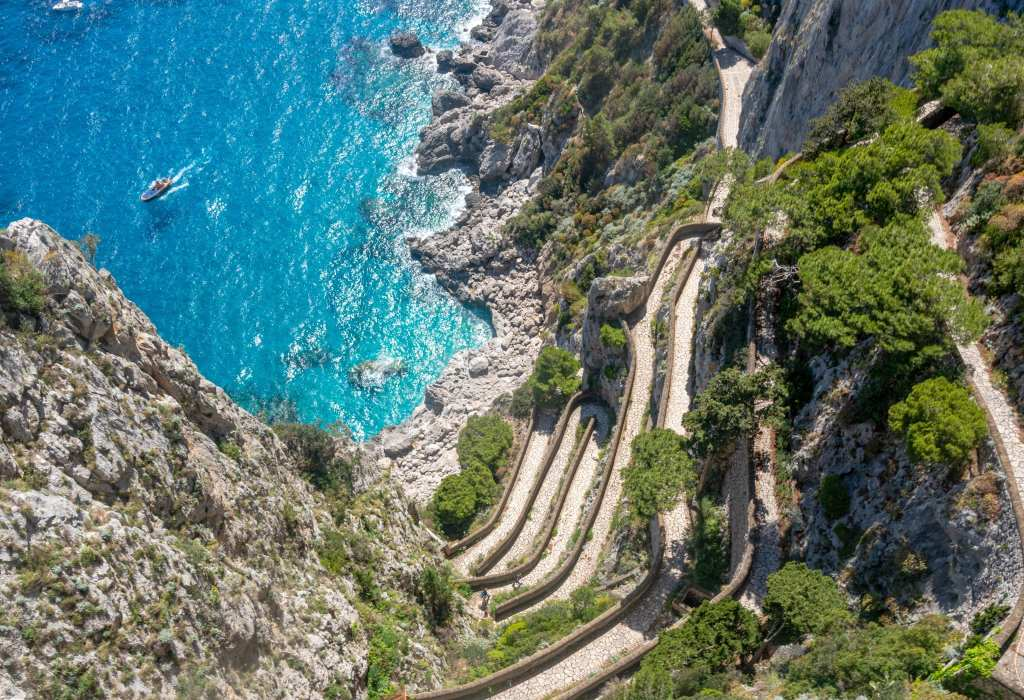 Photo of Via Krupp and the sea seen from above on a Day Trip to Capri