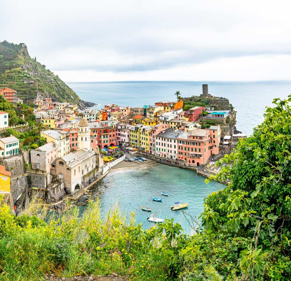 View of Vernazza harbor from above, Cinque Terre