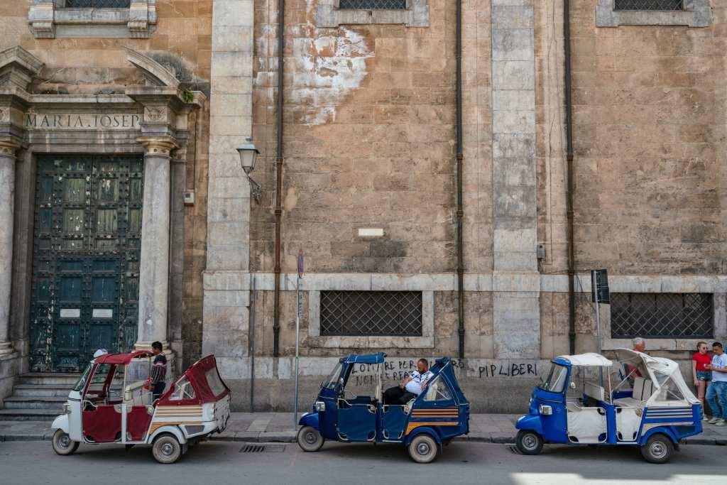 3 tuk tuks on the street in Palermo, Sicily