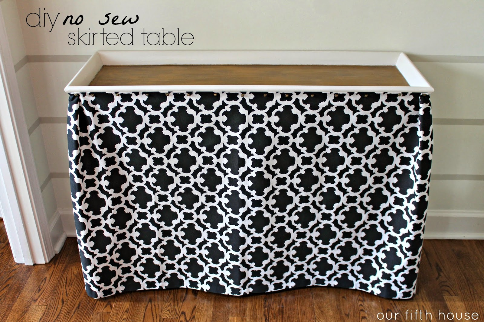 Diy No Sew Skirted Table Our Fifth House