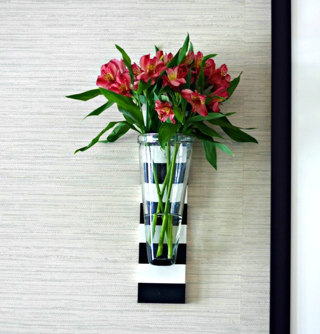 diy striped wall vase