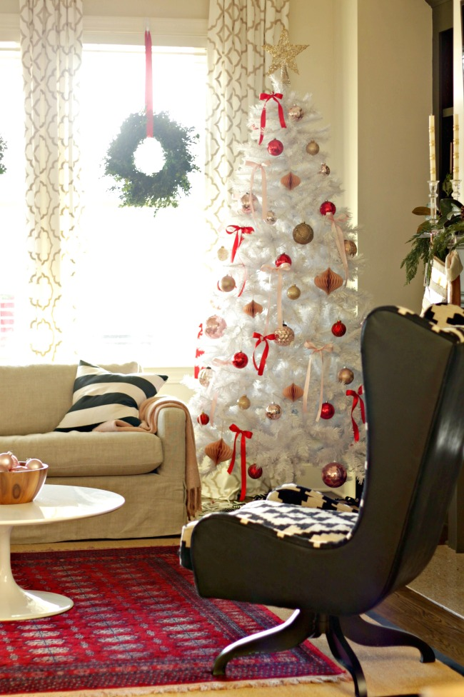 blush and red white christmas tree