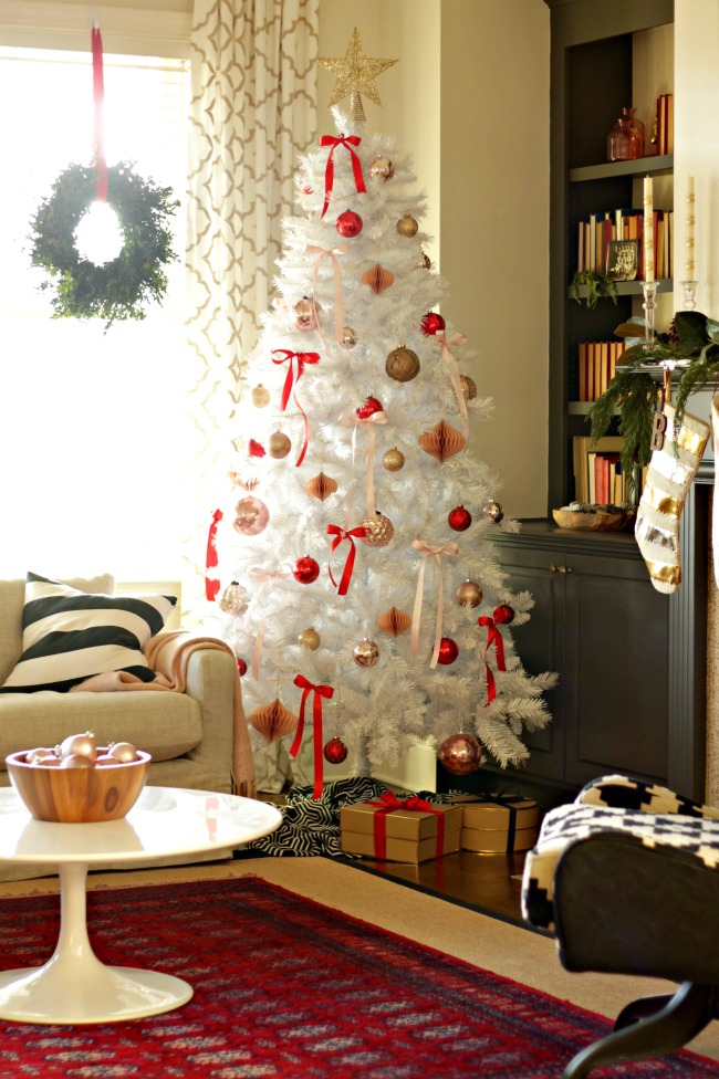 blush and red christmas tree