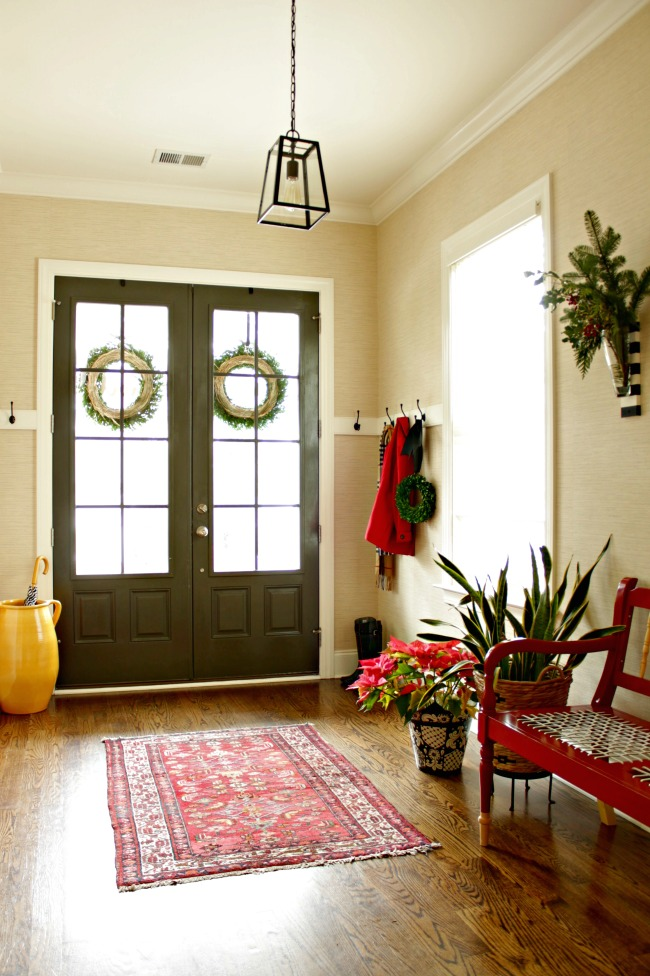 christmas entry foyer - black doors