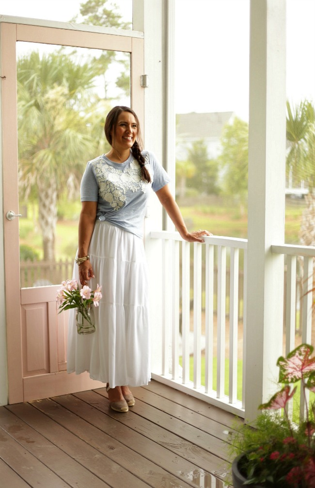 summer style floral top white maxi skirt