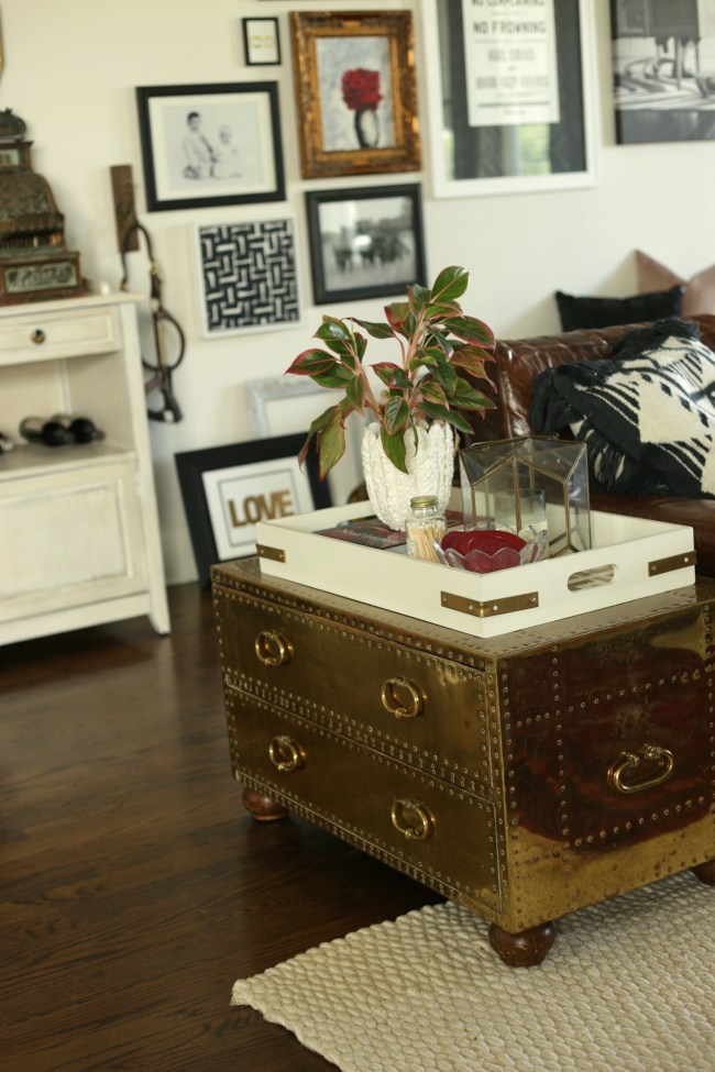 brass side table trunk