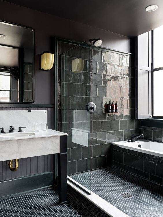 Gorgeous Black Tile Showers