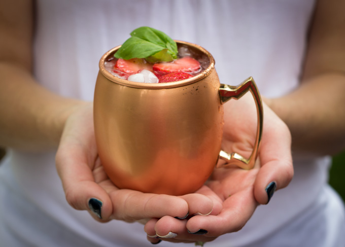 Strawberry Basil Moscow Mules